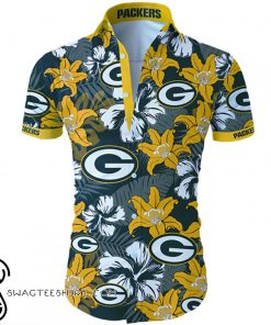 Green bay packers tropical flower hawaiian shirt
