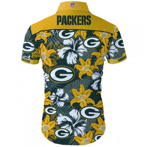 Green bay packers tropical flower hawaiian shirt 3