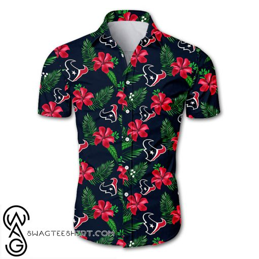 Houston texans tropical flower hawaiian shirt