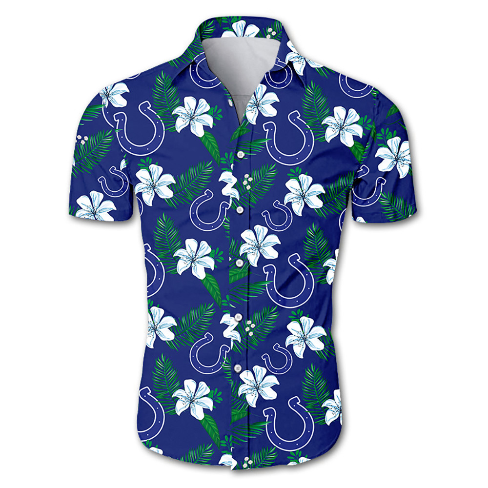 Indianapolis colts tropical flower hawaiian shirt 1