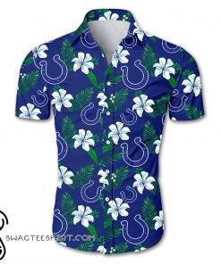 Indianapolis colts tropical flower hawaiian shirt