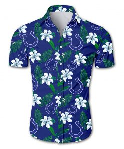 Indianapolis colts tropical flower hawaiian shirt 3