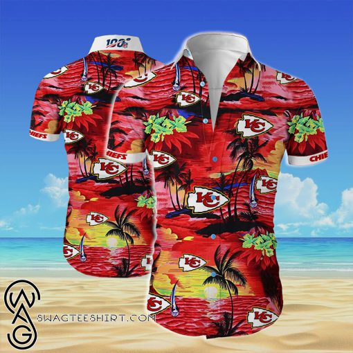 Kansas city chiefs cannabis all over printed hawaiian shirt