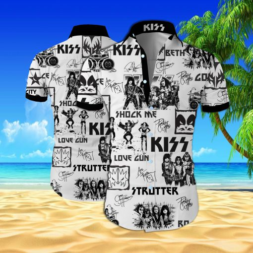 Kiss rock band all over printed hawaiian shirt 1