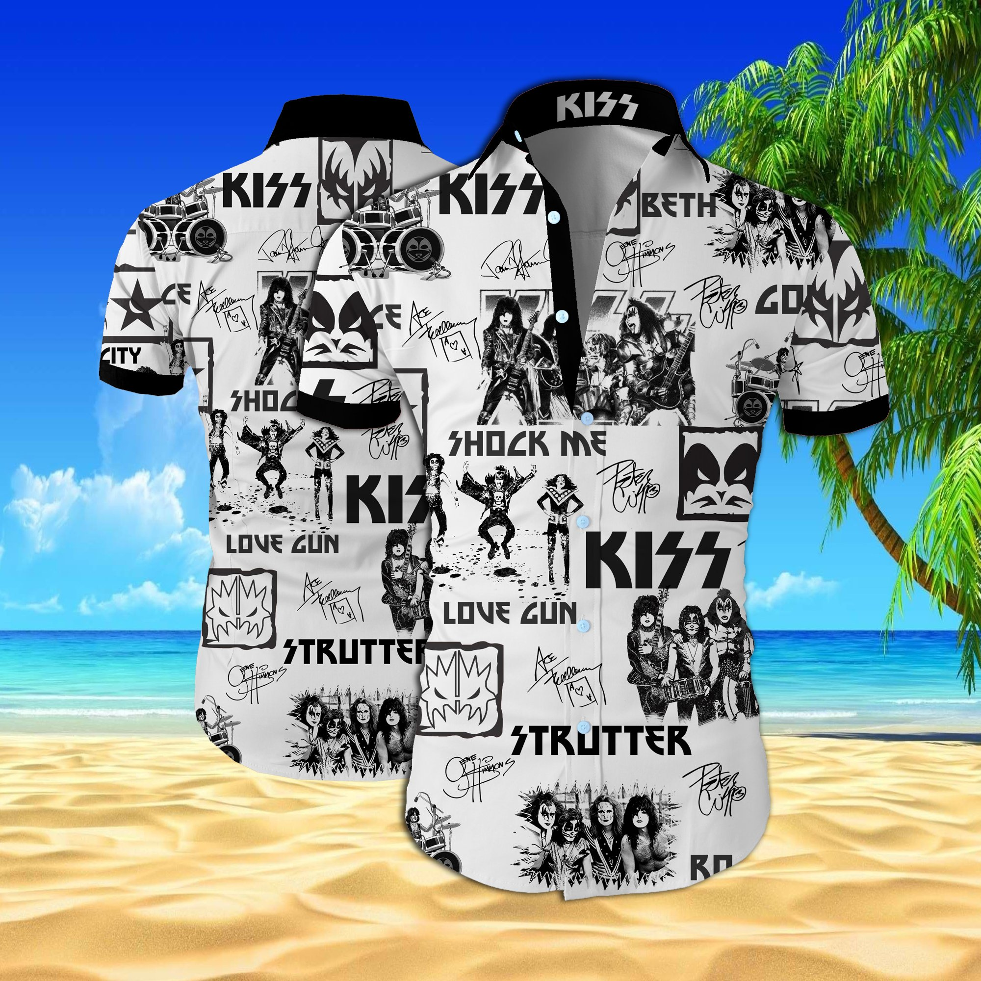 Kiss rock band all over printed hawaiian shirt 2
