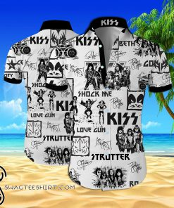 Kiss rock band all over printed hawaiian shirt