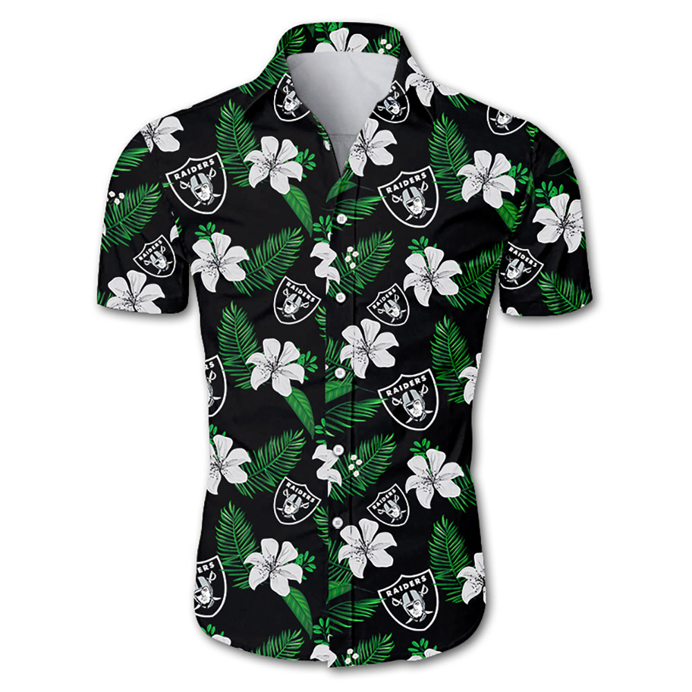 Las vegas raiders tropical flower hawaiian shirt 1