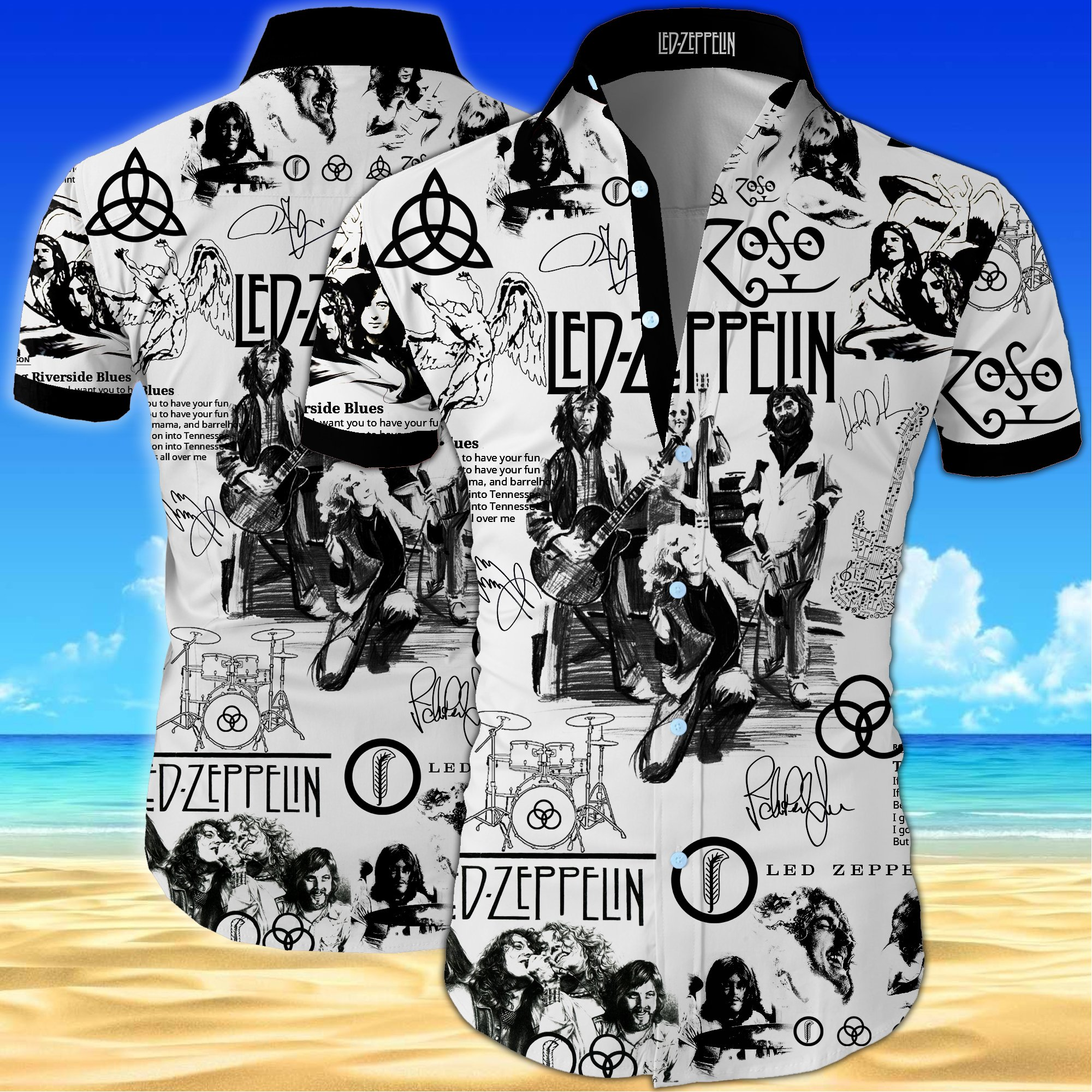 Led zeppelin all over printed hawaiian shirt 2
