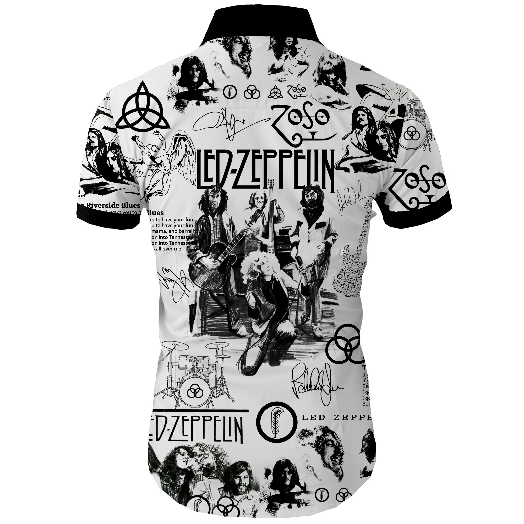 Led zeppelin all over printed hawaiian shirt 4