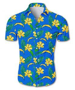 Los angeles chargers tropical flower hawaiian shirt 2