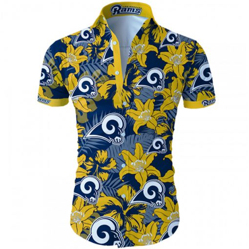 Los angeles rams tropical flower hawaiian shirt 1