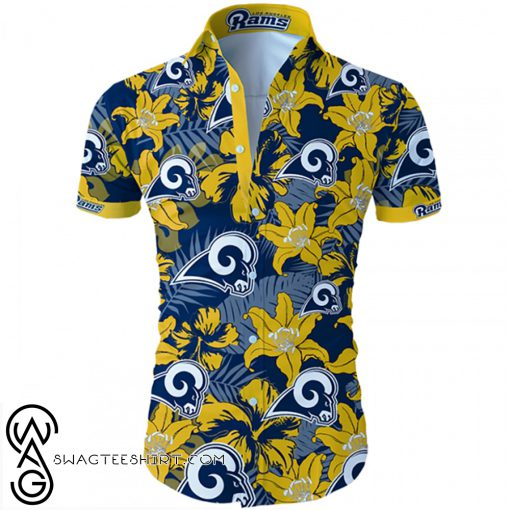Los angeles rams tropical flower hawaiian shirt