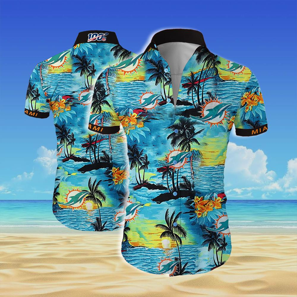 Miami dolphins team all over printed hawaiian shirt 1
