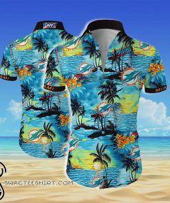 Miami dolphins team all over printed hawaiian shirt
