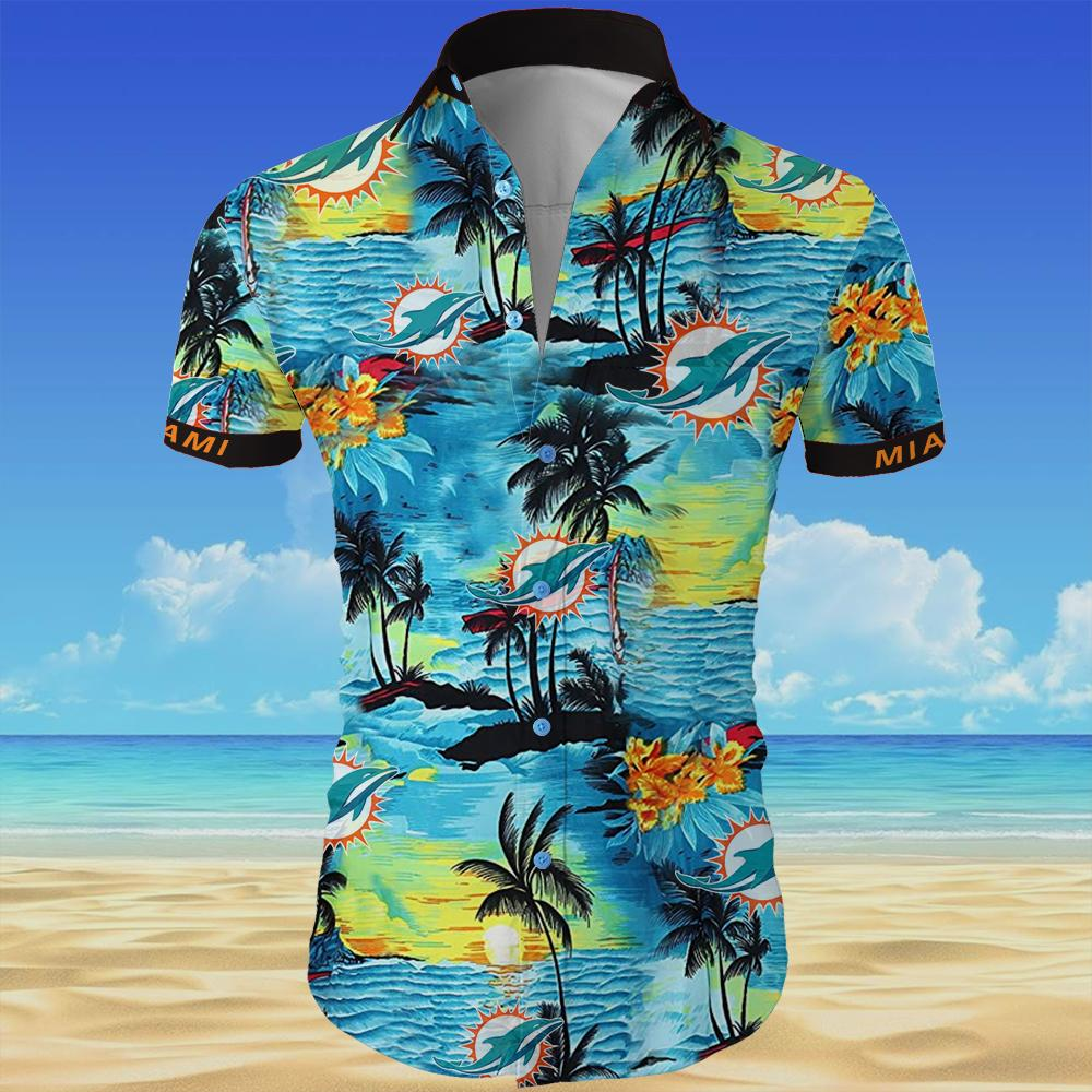 Miami dolphins team all over printed hawaiian shirt 3