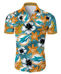 Miami dolphins tropical flower hawaiian shirt 1
