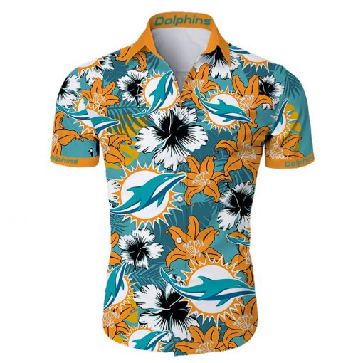 Miami dolphins tropical flower hawaiian shirt 2