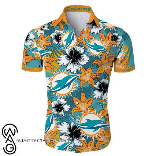 Miami dolphins tropical flower hawaiian shirt