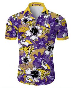 Minnesota vikings tropical flower hawaiian shirt 1
