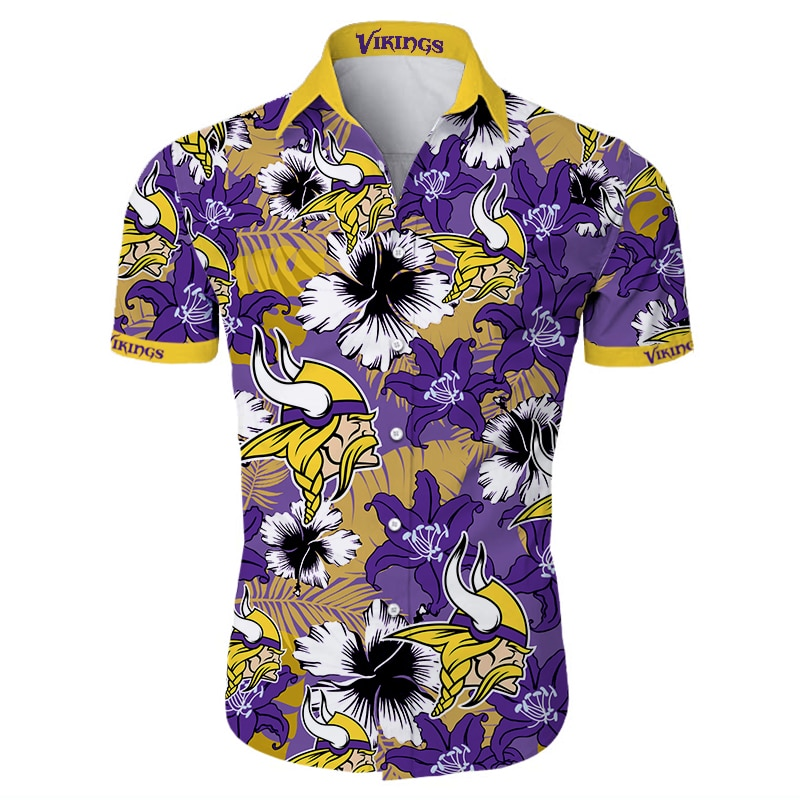 Minnesota vikings tropical flower hawaiian shirt 2