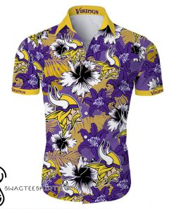 Minnesota vikings tropical flower hawaiian shirt