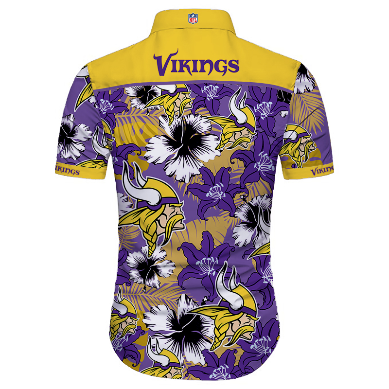 Minnesota vikings tropical flower hawaiian shirt 4