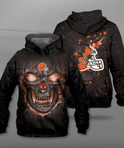 NFL cleveland browns lava skull full printing hoodie