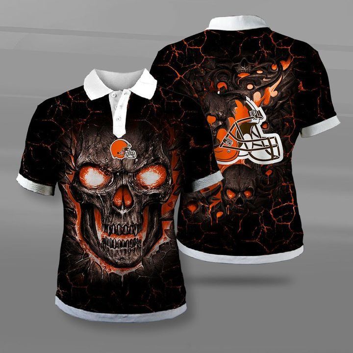 NFL cleveland browns lava skull full printing polo