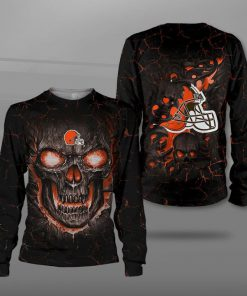 NFL cleveland browns lava skull full printing sweatshirt