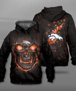 NFL denver broncos lava skull full printing hoodie