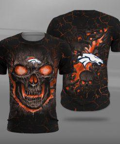 NFL denver broncos lava skull full printing tshirt