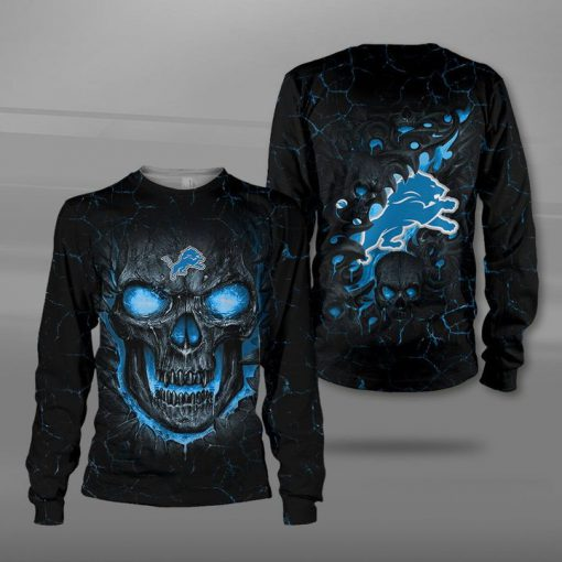 NFL detroit lions lava skull full printing sweatshirt