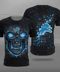 NFL detroit lions lava skull full printing tshirt