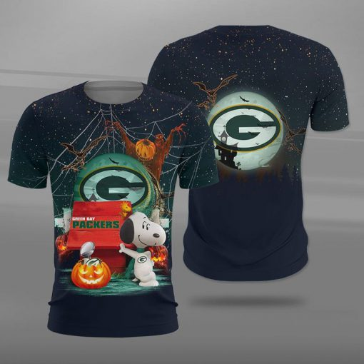 NFL green bay packers snoopy full printing tshirt