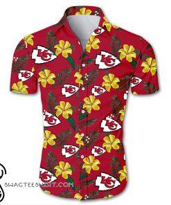 NFL kansas city chiefs tropical flower hawaiian shirt