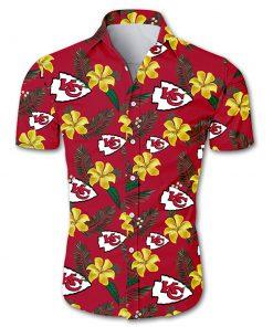 NFL kansas city chiefs tropical flower hawaiian shirt 3