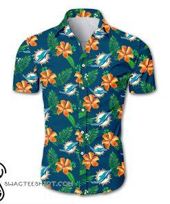 NFL miami dolphins tropical flower hawaiian shirt