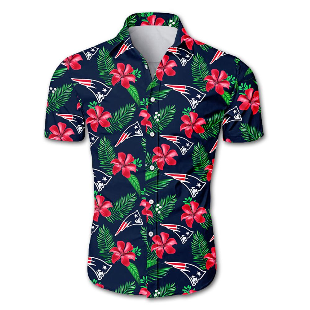 NFL new england patriots tropical flower hawaiian shirt 1