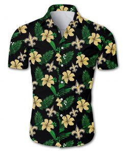 NFL new orleans saints tropical flower hawaiian shirt 2