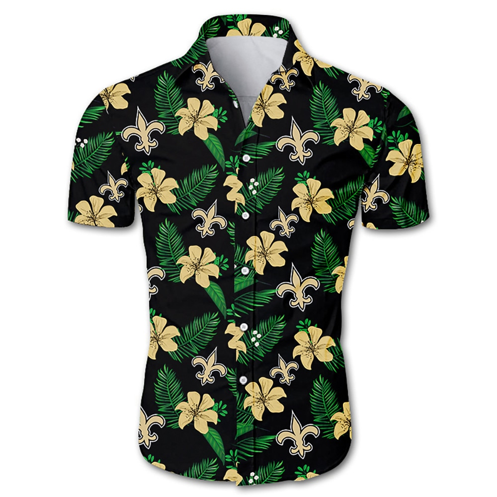 NFL new orleans saints tropical flower hawaiian shirt 3