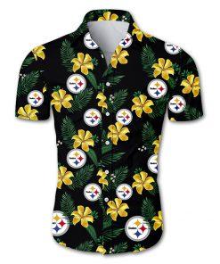 NFL pittsburgh steelers tropical flower hawaiian shirt 3