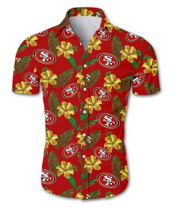 NFL san francisco 49ers tropical flower hawaiian shirt 1