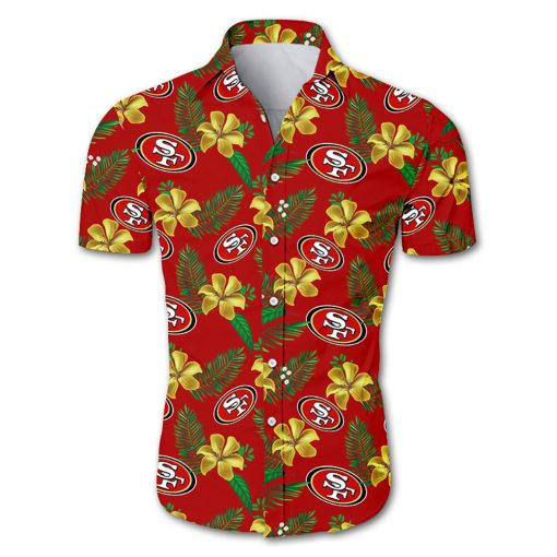 NFL san francisco 49ers tropical flower hawaiian shirt 2