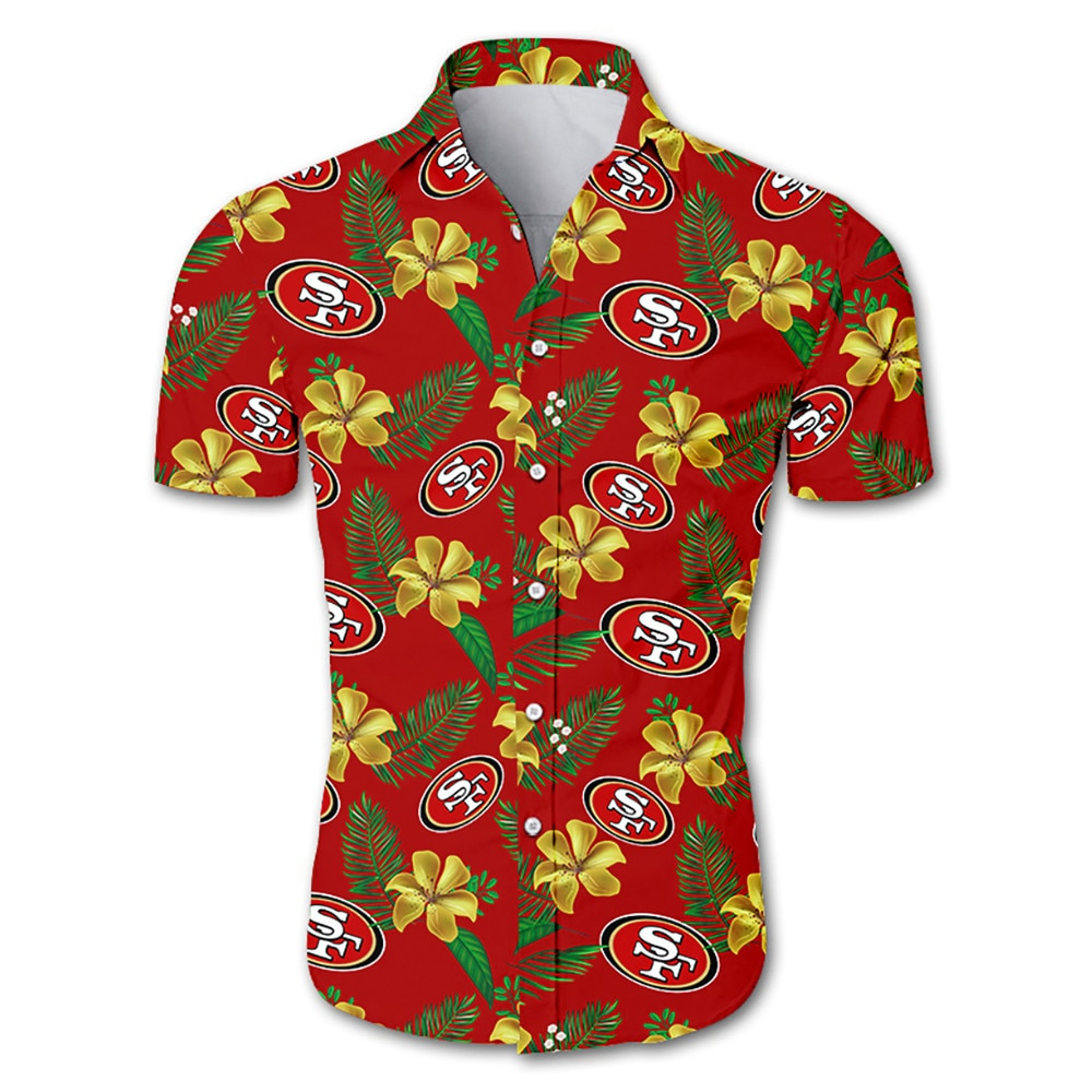NFL san francisco 49ers tropical flower hawaiian shirt 3