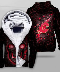 NHL calgary flames lava skull full printing fleece hoodie