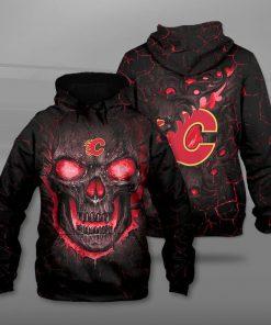 NHL calgary flames lava skull full printing hoodie