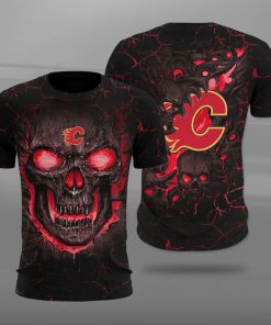 NHL calgary flames lava skull full printing tshirt