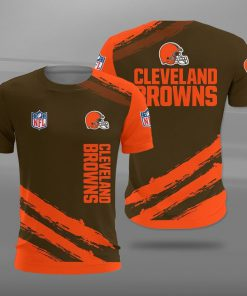 National football league cleveland browns full printing tshirt