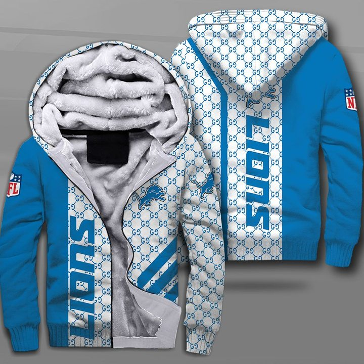 National football league detroit lions full printing fleece hoodie