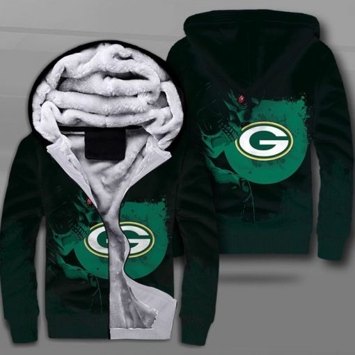 National football league green bay packers terminator full printing fleece hoodie